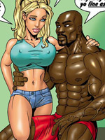 Busty blonde toon babe decides to try first huge black meat she ever sucked.