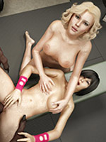 Two cartoon blonde girls undressing and going hard on throbbing black dong.